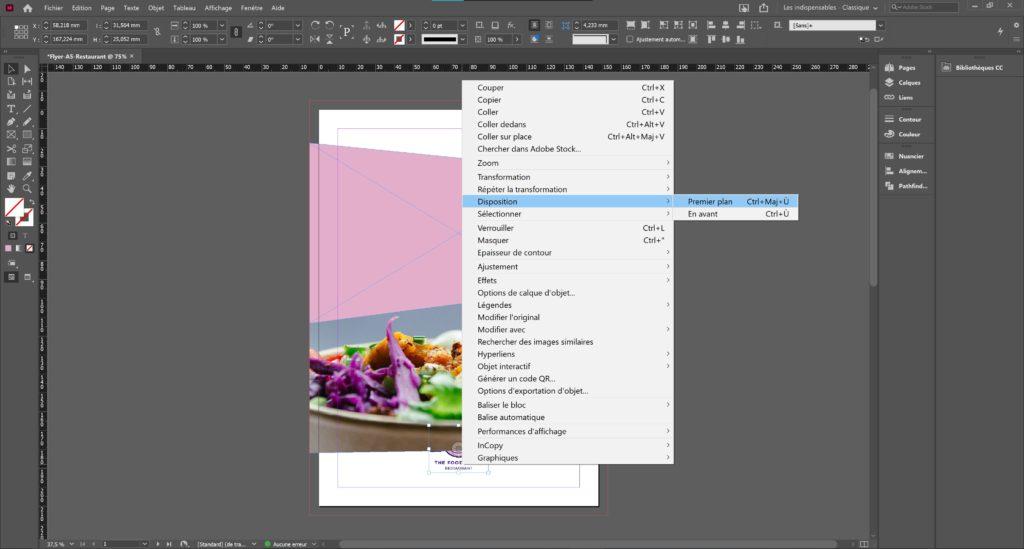 Modifier le positionnement d'une image indesign