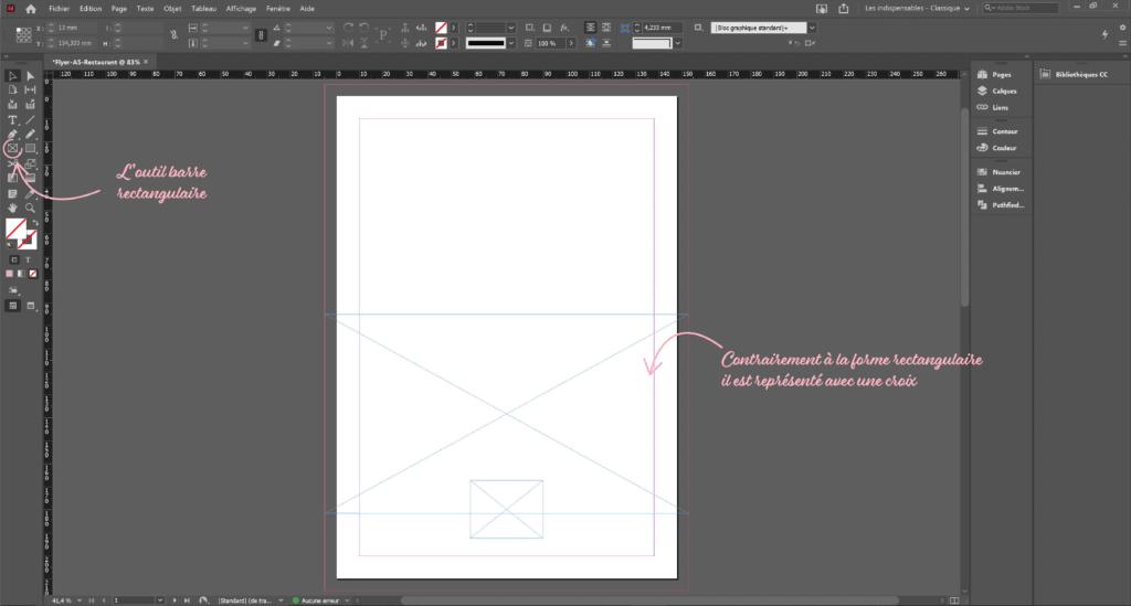 découvrir l'outil rectangulaire tutoriel indesign