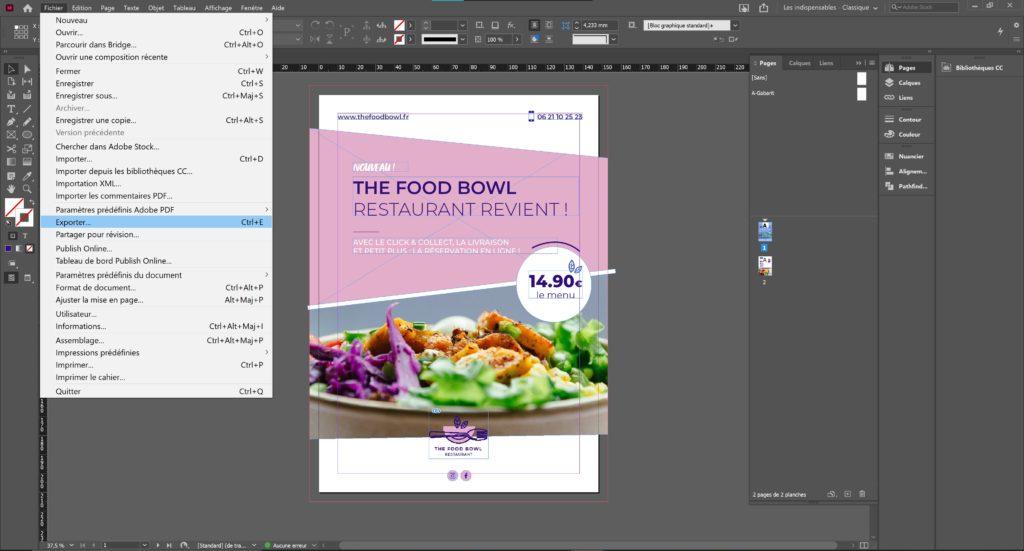 Exporter en pdf document indesign